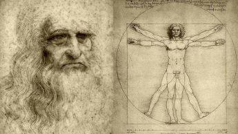 Леонардо да Винчи и его Витруавианский человек.