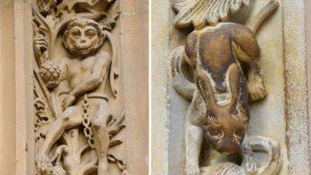 Фигурки обезьяны и кролика на стенах собора Саламанки. | Фото: rinconesibericos.blogspot.com и galiciaenfotos.com.
