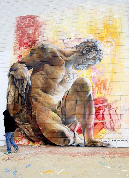 Авангардные граффити с визуализациями мифологических персонажей