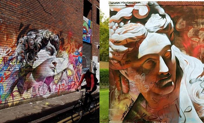 Изображения древнегреческих богов в виде уличного искусства