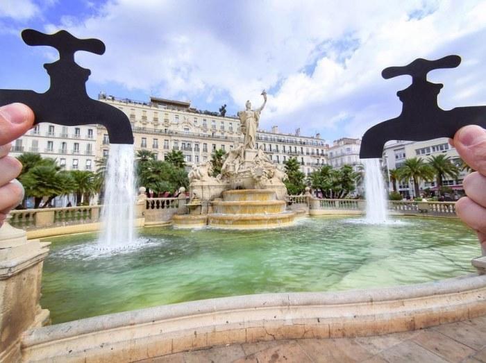 Площадь Свободы в Тулоне, в центре которой находится знаменитый фонтан Федерации