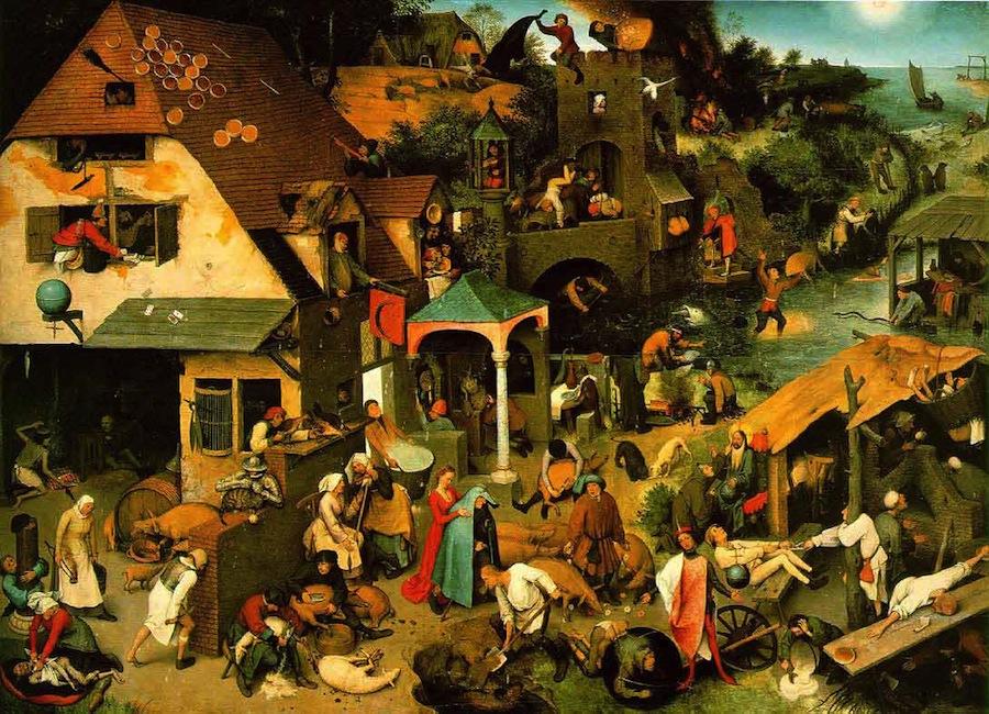 «Фламандские пословицы»: в картине содержится 112 нидерландских идиом