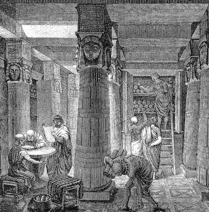 Александрийская библиотека. Гравюра О. фон Корвена, XIX век. | Фото: ru.wikipedia.org.