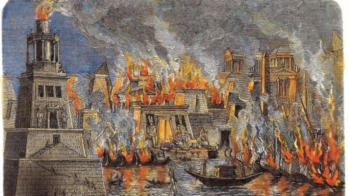Александрия в огне. | Фото: cdn.history.com.