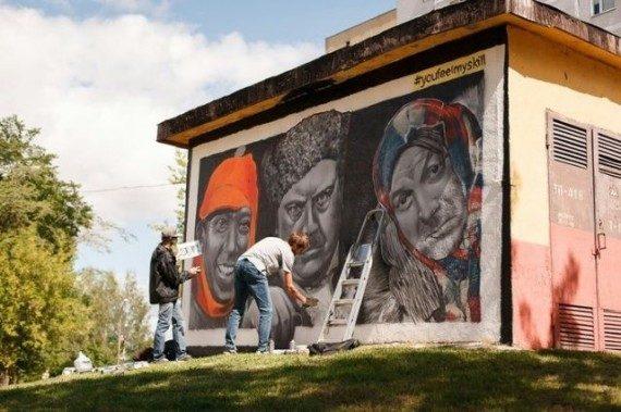 Прикольное уличное граффити