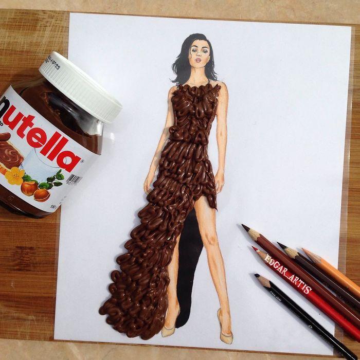 Платье из знаменитой на весь мир шоколадная намазки Nutella