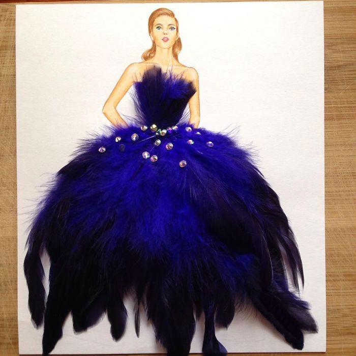 Пышная юбка из ярких синих перьев