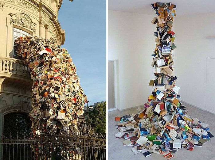 Книжные водопады из серии скульптур «Биографии», Алисия Мартин, Мадрид, Испания