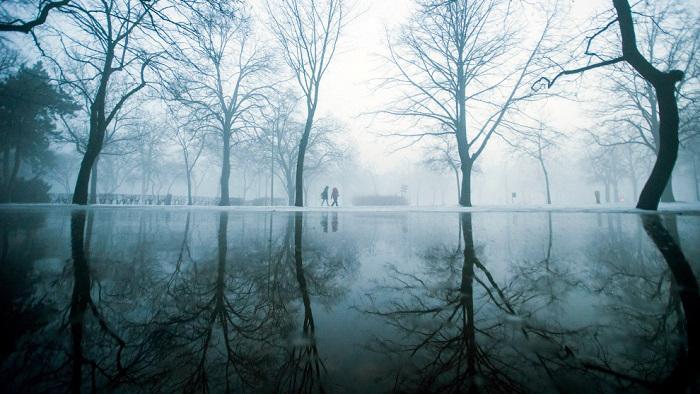 Туман нежно обволакивает небольшое озеро в будапештском парке