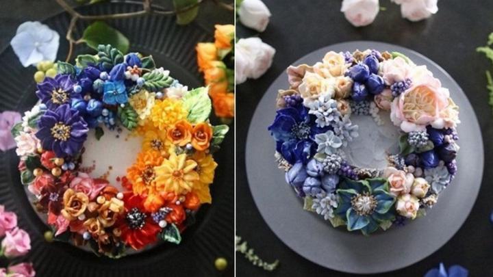 Цветочные композиции из масляного крема 01