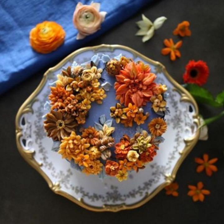 Цветочные композиции из масляного крема 08