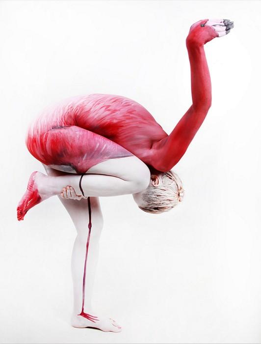 Фламинго. Превращение при помощи бодипейнтинга Гезине Марведель