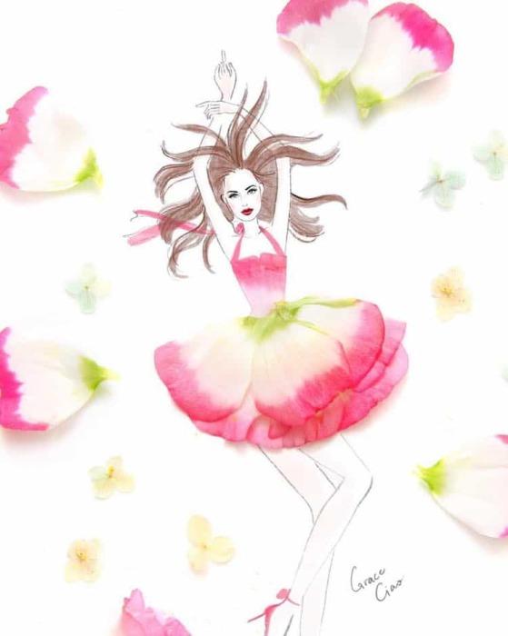 Обычные лепесточки цветов становятся шикарными платьями.
