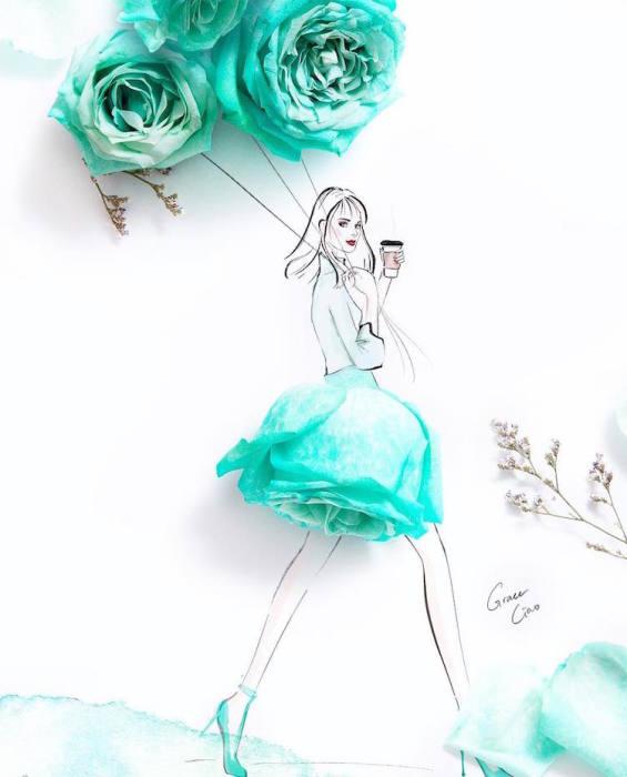 Оригинальный дизайн платья.