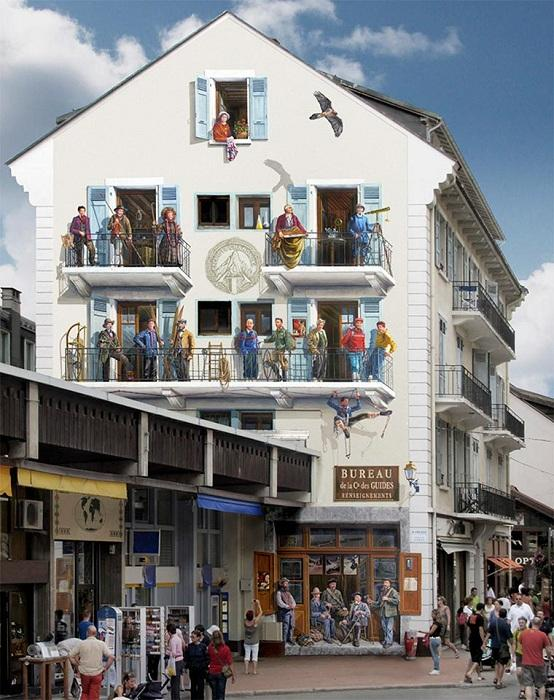 Patrick Commecy Гиперреалистичные сюжеты на стенах зданий. | Фото: ufunk.net.