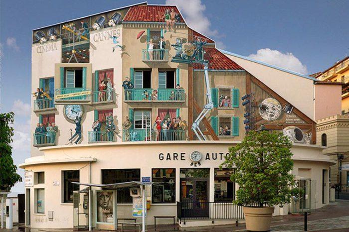 Patrick Commecy Оригинальный стрит-арт на стене дома. | Фото: ufunk.net.