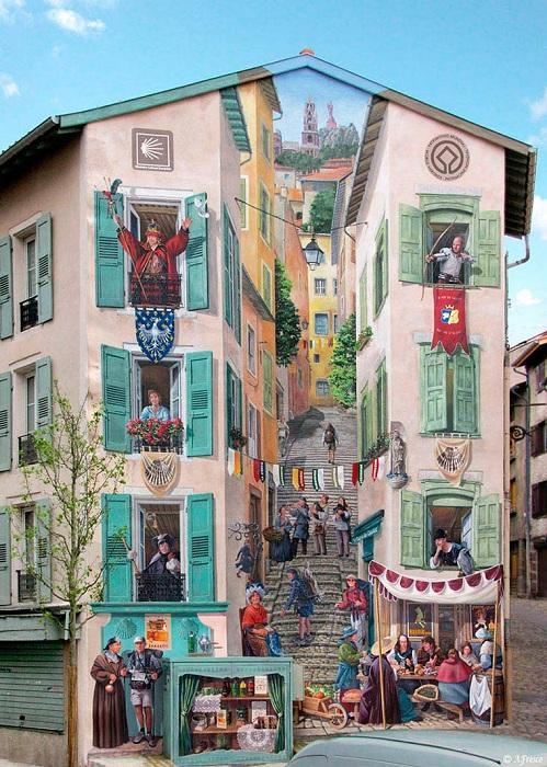 Patrick Commecy Роспись на стене дома, идеально вписавшаяся в общую картину. | Фото: ufunk.net.