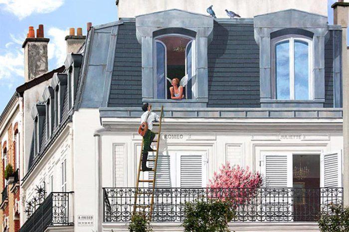 Patrick Commecy Стена, расписанная как продолжение балкона. | Фото: ufunk.net.