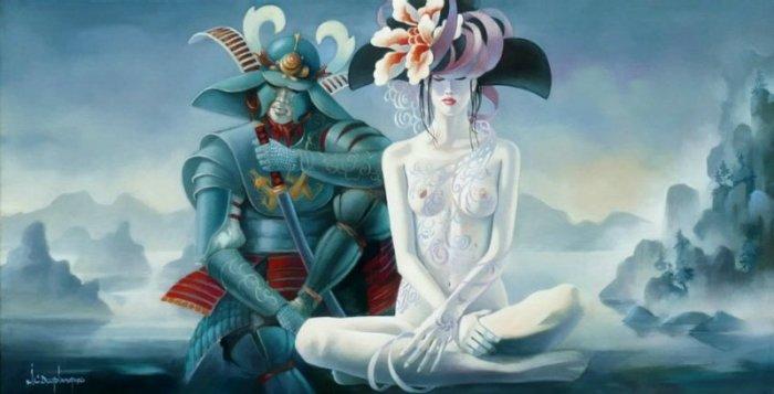 Самурай и гейша. Автор: Jean Claude Desplanques.