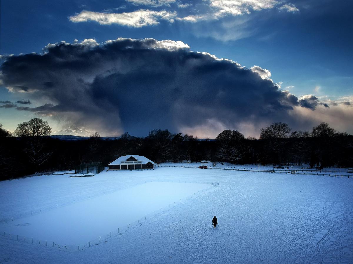 Снежная буря, фото с воздуха. Танбридж-Уэллс, Англия. Автор: Стив Бейкер.