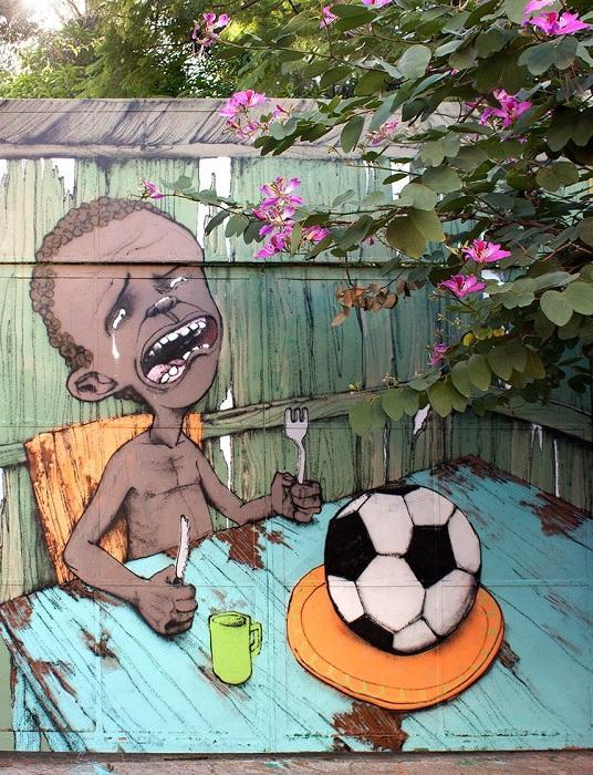 Граффити от бразильского футбольного болельщика.