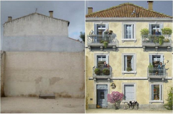 Разрисованный фасад дома от художника-муралиста Патрика Коммеси (Patrick Commecy).